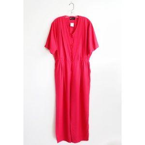 Vintage Bright Pink Short Sleeve Jumpsuit XL